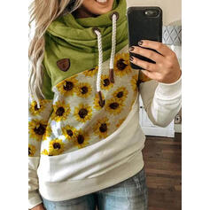 Color Block Sunflower Print Long Sleeves Hoodie