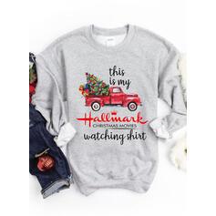 Drucken Figur Rundhals Lange Ärmel Pullover Weihnachts-Sweatshirt
