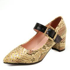 Kvinder Lærred PU Stor Hæl Pumps med Spænde Pels sko