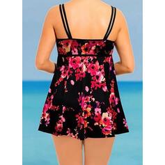 Floral Print Strap U-Neck Vintage Plus Size Colorful Swimdresses Swimsuits