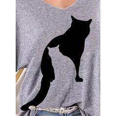 Imprimé Animal Col V Manches Longues Décontractée Tricotage T-shirts