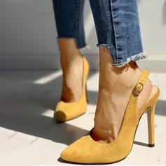 Frauen Veloursleder Stöckel Absatz Sandalen Absatzschuhe Slingpumps mit Schnalle Schuhe