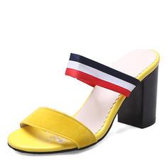 Kvinder Kunstlæder Stor Hæl sandaler Pumps Kigge Tå Slingbacks sko