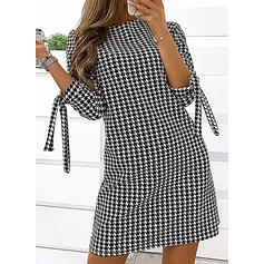Plaid 3/4 Sleeves Shift Above Knee Casual Tunic Dresses