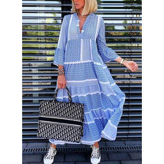 Print 3/4 Sleeves/Flare Sleeves Shift Casual/Elegant Midi Dresses