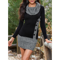 Color Block Cowl Neck Casual Long Sweater Dress
