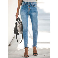 Pockets Shirred Long Sexy Plain Denim & Jeans