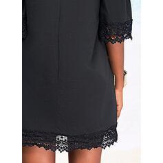 Jednolity Koronka Rękawy 1/2 cold ramion rękaw Suknie shift Nad kolana Mała czarna/Nieformalny Tunika Sukienki