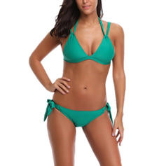 Solid Color Neon Halter Sexy Bikinis Swimsuits