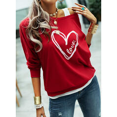 Wydrukować Figura Serce One Shoulder Długie rękawy Bluza