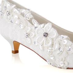 9e7349f3a22 ... Γυναίκες Δαντέλα Μετάξι σαν σατέν Μεσαία παπούτσια τακουνιών Κλειστά  παπούτσια Με Δέσιμο δαντέλα Κρύσταλλο Μαργαριτάρι