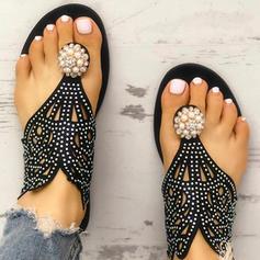 De mujer PU Tacón plano Sandalias Planos Encaje con Agujereado zapatos