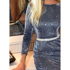 Sequins/Solid Long Sleeves Bodycon Above Knee Party Dresses
