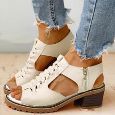 Vrouwen PU Chunky Heel Sandalen Pumps Peep Toe Hakken met Rits schoenen