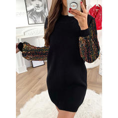 Sequins Long Sleeves Shift Knee Length Casual Tunic Dresses