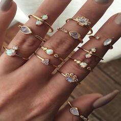 Vintage Boho Alloy With Rhinestones Rings (Set of 12)