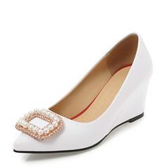 Femmes PVC Talon compensé Compensée avec Strass Perle d'imitation chaussures
