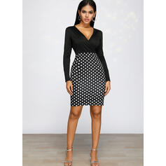 PolkaDot Long Sleeves Bodycon Knee Length Casual/Elegant Pencil Dresses