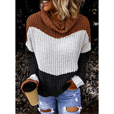 Color Block Cable-knit Chunky knit Turtleneck Sweaters