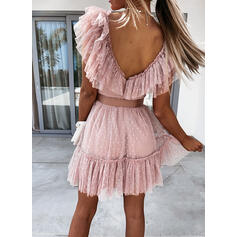 Groszki/Bez pleców Krótkie rękawy W kształcie litery A Nad kolana Elegancki Łyżwiaż Sukienki