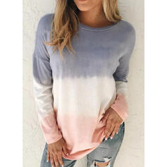 Tie Dye Round Neck Long Sleeves Casual T-shirts