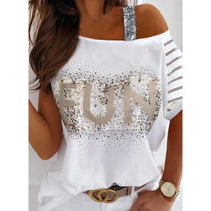 Sequins Figure One Shoulder 1/2 Sleeves Casual Blouses