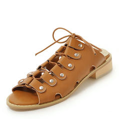 Women's PU Chunky Heel Sandals Slingbacks With Lace-up shoes