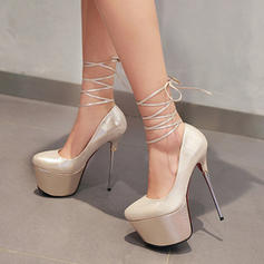 Women's Leatherette Stiletto Heel Pumps Platform Closed Toe With Lace-up shoes