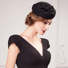 Ladies ' Prosty Wełna Z Kokarda Beret Hat