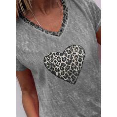 Leopard Heart V-Neck Short Sleeves T-shirts