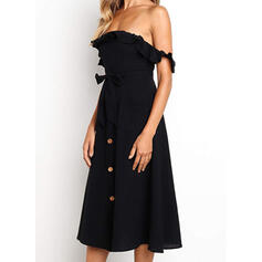 Solid Short Sleeves A-line Skater Little Black/Casual/Vacation Midi Dresses