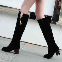 Жіночі Шкіра Квадратні підбори Черевики вище колін з Блискавка взуття