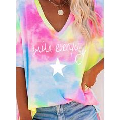 Print Tie Dye Letter V-Neck 1/2 Sleeves T-shirts