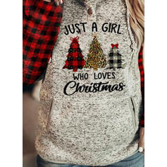 Print Grid Leopard Figure Long Sleeves Christmas Sweatshirt