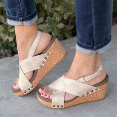 Women's PU Wedge Heel Sandals Wedges With Velcro shoes