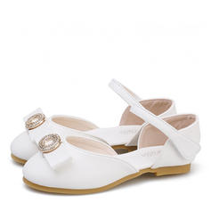 Mädchens Microfaser-Leder Flache Ferse Round Toe Geschlossene Zehe Flache Schuhe Blumenmädchen Schuhe mit Bowknot Klettverschluss