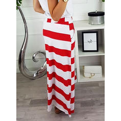 Polyester Striped Maxi Jupes Crayon