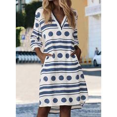 PolkaDot/Striped 3/4 Sleeves Shift Knee Length Casual Tunic Dresses
