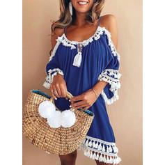 Lace Cold Shoulder Sleeve Shift Above Knee Casual Dresses