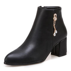 Women's PU Chunky Heel Pumps Boots Ankle Boots With Zipper Chain shoes