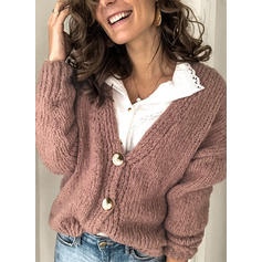 Polyester Long Sleeves Solid Cardigans