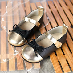 Girl's Real Leather Flat Heel Round Toe Flats Flower Girl Shoes With Bowknot Velcro