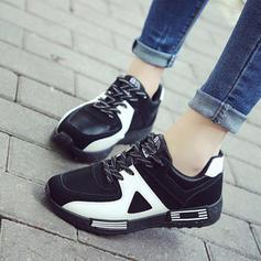 Mulheres Couro Malha Casual Outdoor com Aplicação de renda sapatos
