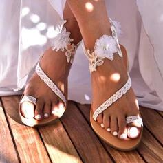 Dla kobiet PU Płaski Obcas Sandały Pierścień na palec Z Kwiaty obuwie