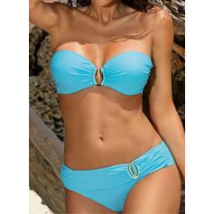 Einfarbig Niedrig Tailliert Neckholder Modisch Bikinis Bademode