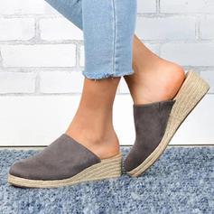 Femmes PU Talon compensé Sandales Bout fermé Chaussons chaussures