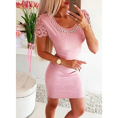 Lace/Solid/Beaded Short Sleeves Bodycon Above Knee Casual Dresses