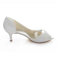 Women's Satin Stiletto Heel Peep Toe Pumps With Rhinestone