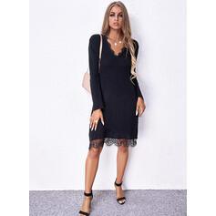 Jednolity Koronka Długie rękawy Nieformalny Sukienki