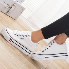 Frauen Leinwand Flascher Absatz Flache Schuhe Low Top Espadrille mit Zuschnüren Einfarbig Schuhe